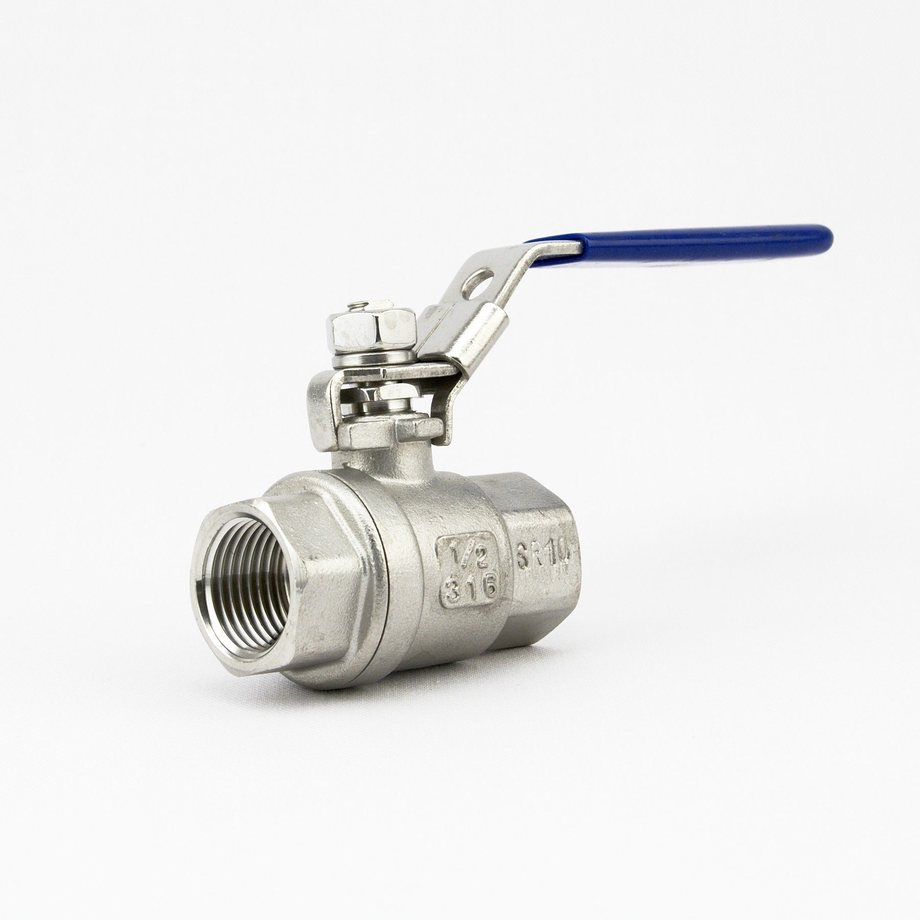 "2-piece full bore ball valve with locking handle (1/2"" BSP)"