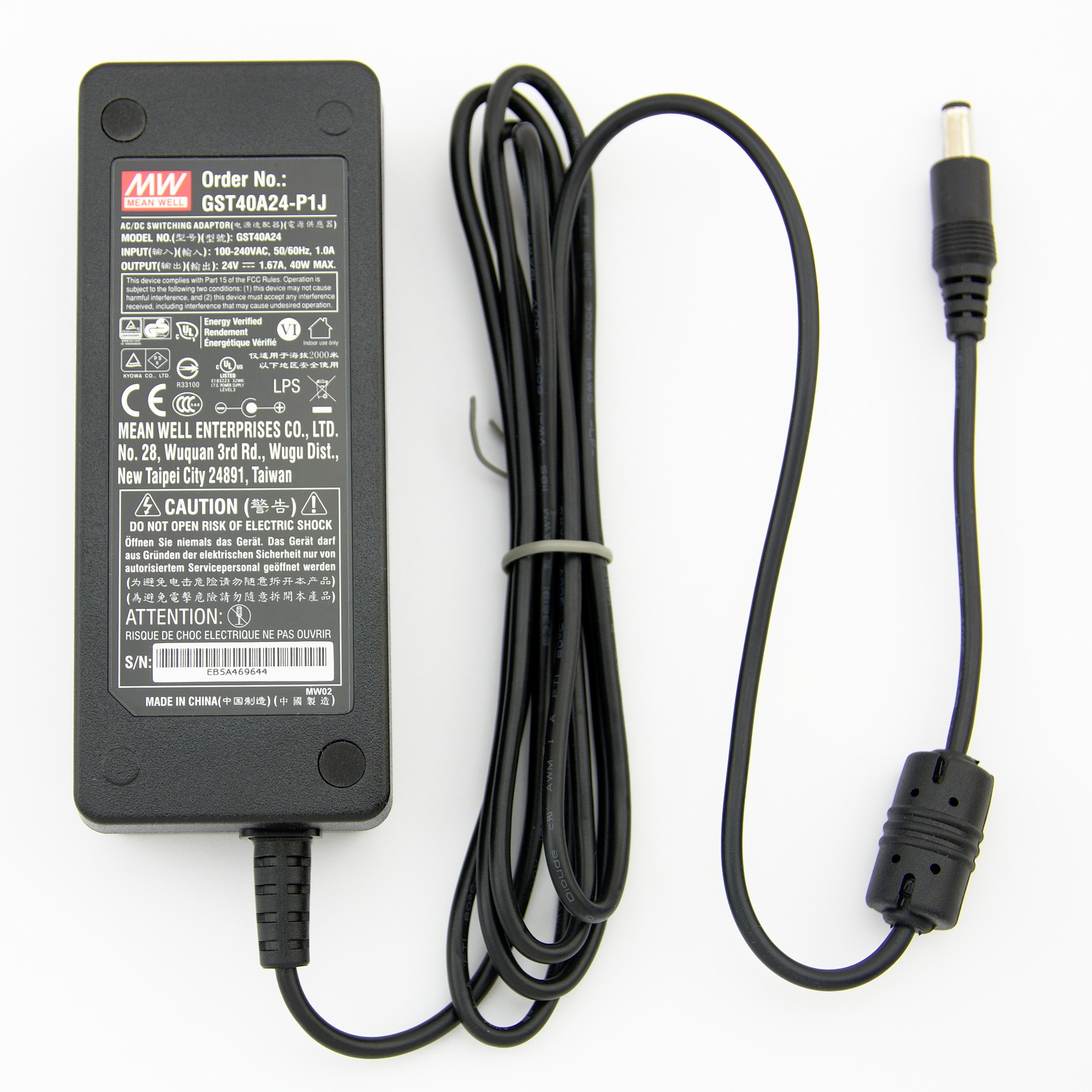 Meanwell GST40A24-P1J Dekstop AC Adapter (40W 24V 1.67A)